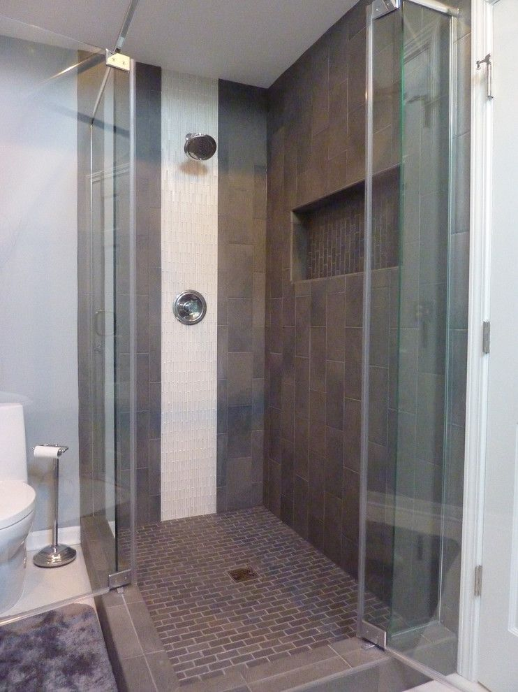 Tile Outlet Chicago for a Contemporary Bathroom with a Gray Tile and Zen Master Bath by Design by Alicia