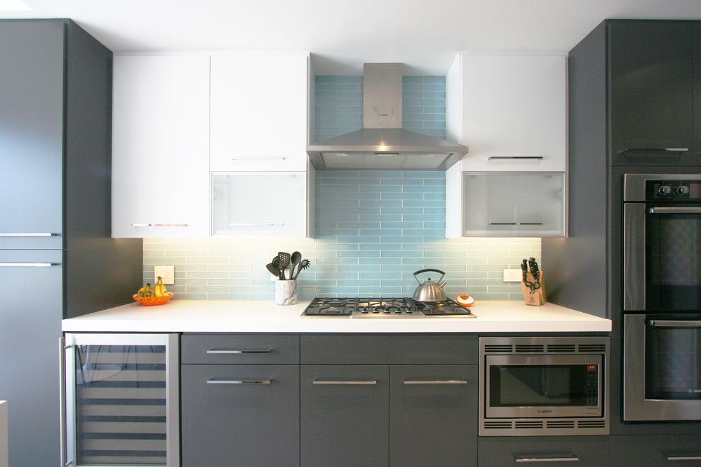 Tile Outlet Chicago for a Contemporary Kitchen with a Two Toned Kitchen and East Erie Condo by Habitar Design