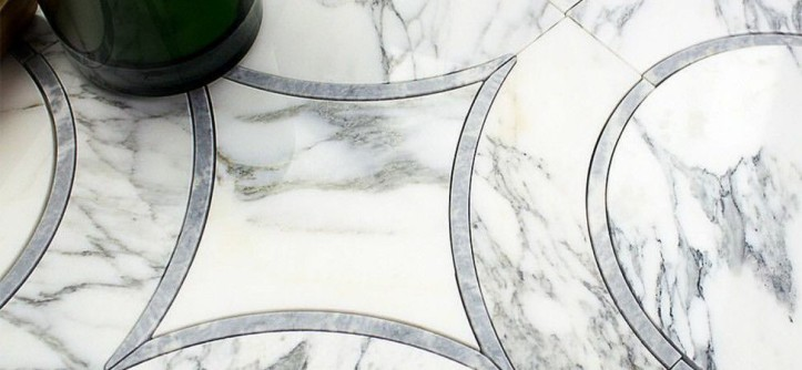 Tileco for a  Spaces with a  and Worldly Waterjet Marble by Tileco