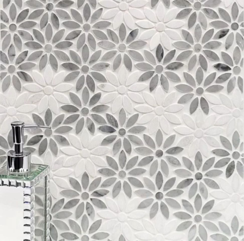 Tileco for a  Spaces with a Flower Tile and Worldly Waterjet Marble by Tileco