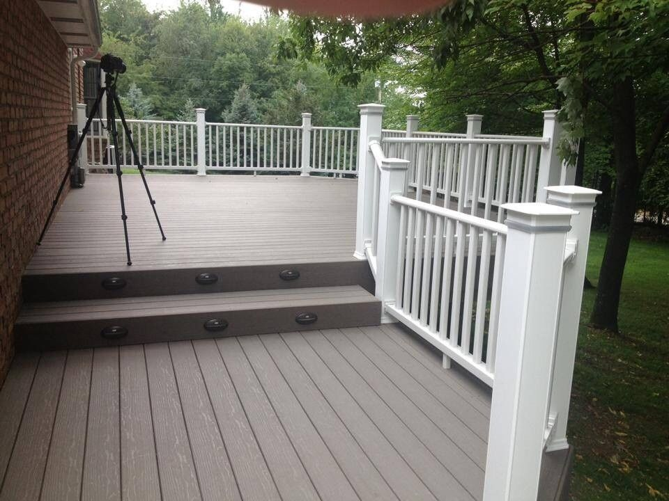Timber Tech for a  Deck with a Deck Warranty and Timbertech with Lighting by Eco Construction Services Llc