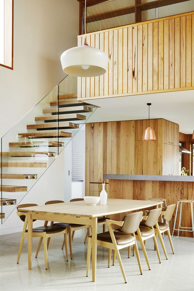 Timber Wolf Size for a Contemporary Dining Room with a Timber and Fenwick Street by Julie Firkin Architects