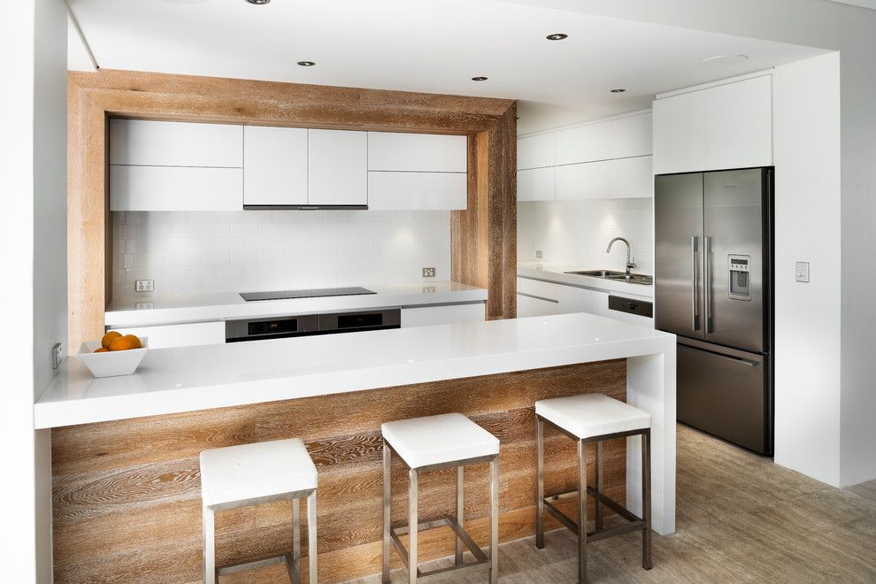 Timber Wolf Size for a Contemporary Kitchen with a Waterfall Island and Ozone Extension/renovation by Liz Prater Design Home