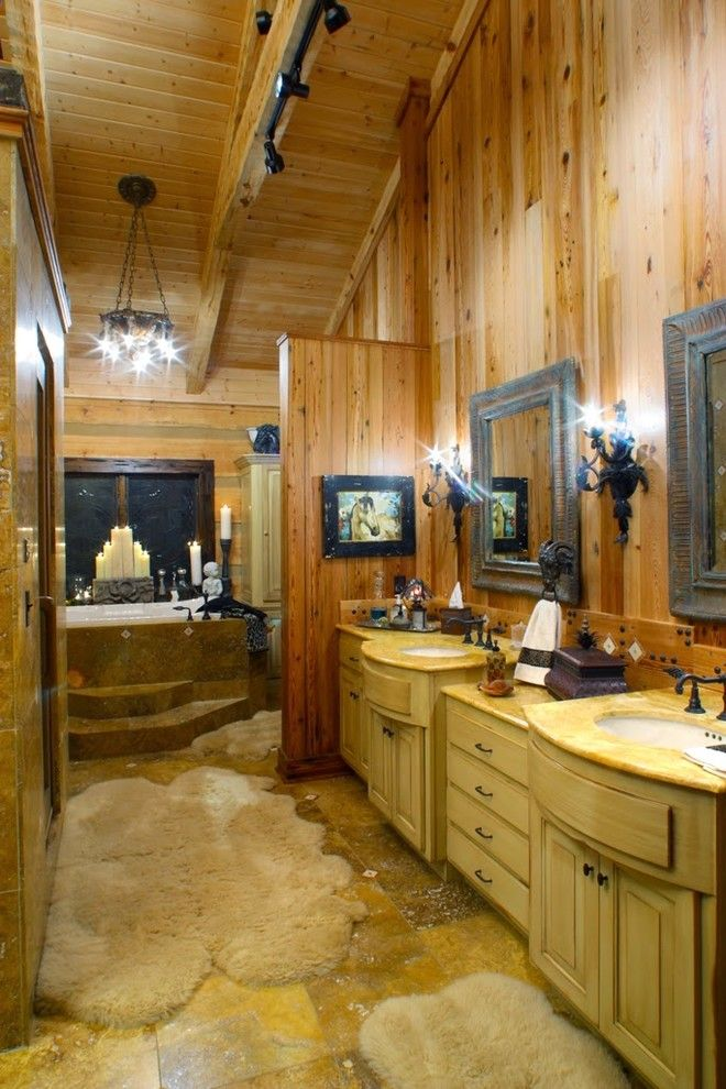 Timberlake Furniture for a Rustic Bathroom with a Timber Frame and the Barkely Family Home by Hearthstone Inc