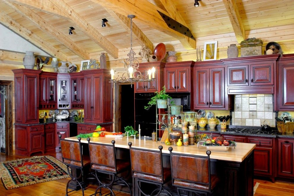 Timberlake Furniture for a Rustic Kitchen with a Dandridge and the Barkely Family Home by Hearthstone Inc