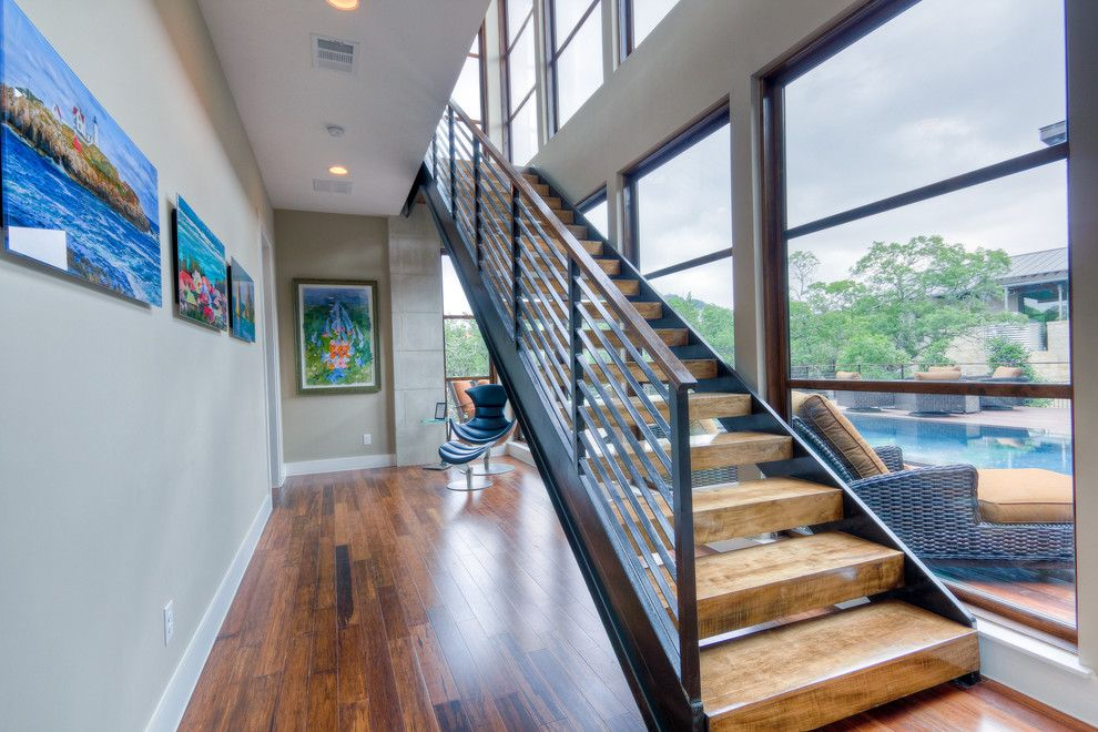 Times Square at Craig Ranch for a Contemporary Staircase with a Open Risers and 2012 Parade Home #7 by Adam Wilson Custom Homes