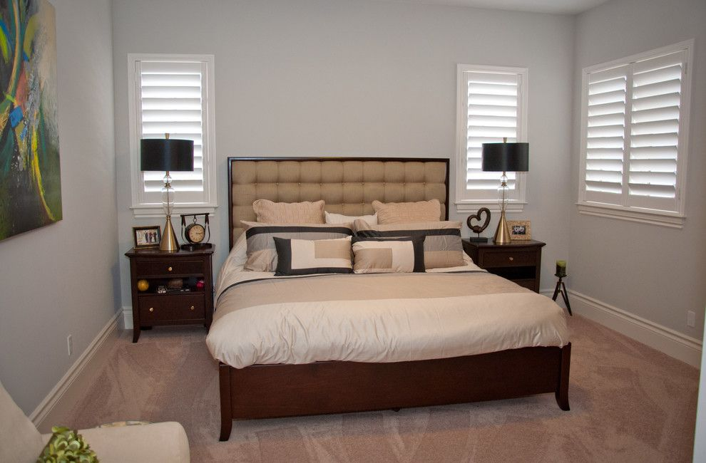 Tint Masters for a Transitional Bedroom with a Rod and Custom Window Treatments in Miromar Lakes Home by Beverly Hills Window Tinting and Treatments