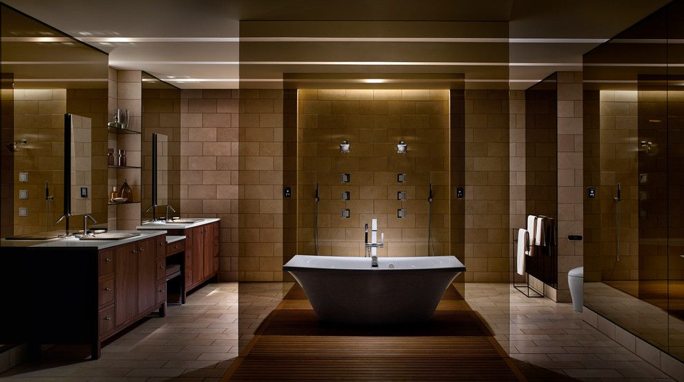 Tint Pros for a Modern Bathroom with a Teak Floor and Kohler by Kohler