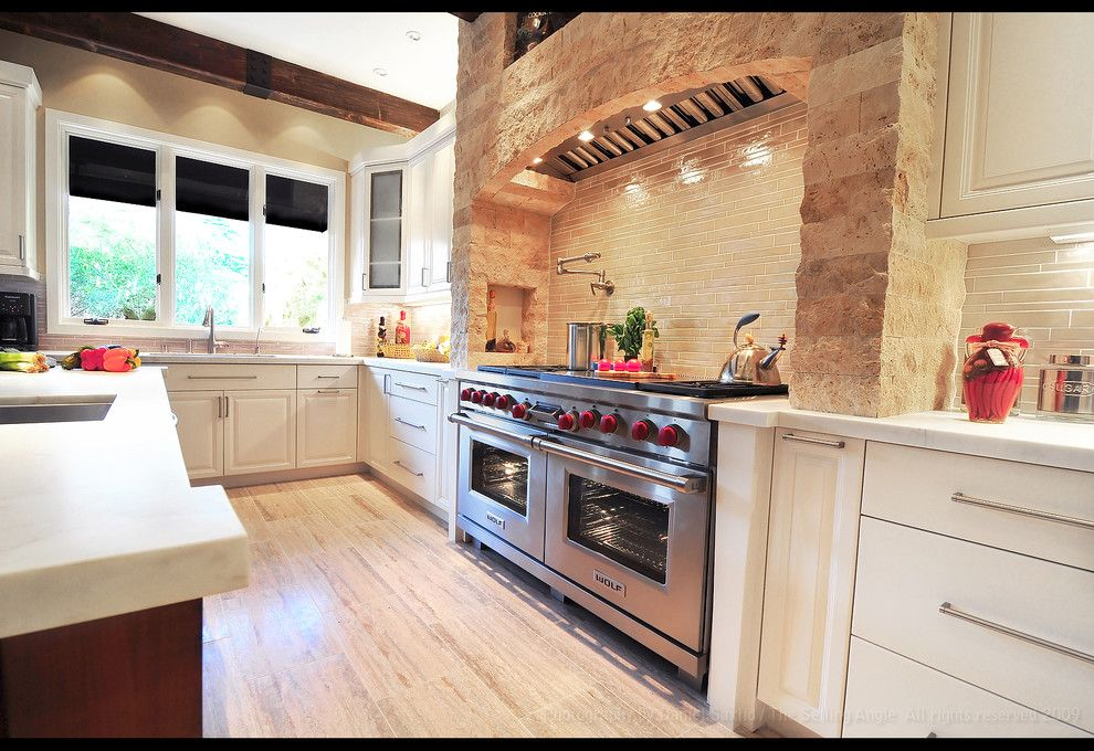 Tivoli Bowl for a Rustic Kitchen with a Tile Backsplash and Mediterranean Kitchen by Fran Kerzner  Design Synthesis