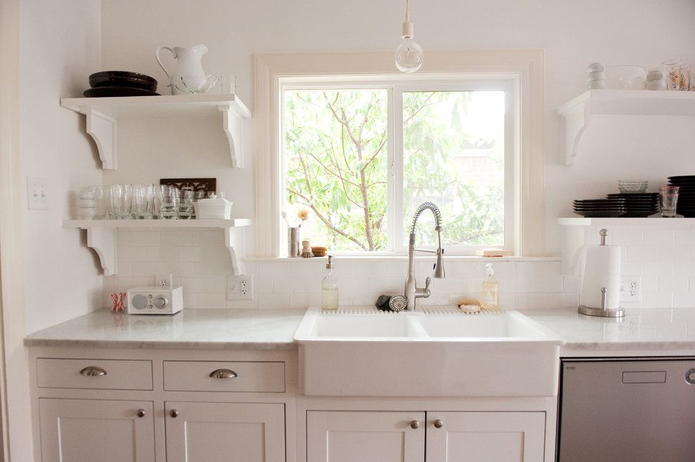 Tivoli Bowl for a Traditional Kitchen with a White Farmhouse Sink and Our Bright, White, Open Kitchen by Emily Mccall