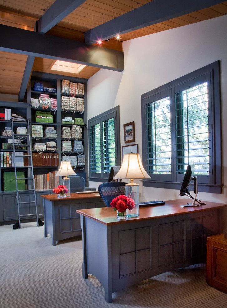Tmart Furniture for a Transitional Home Office with a Shared Office and Portfolio by Gail Owens Photography