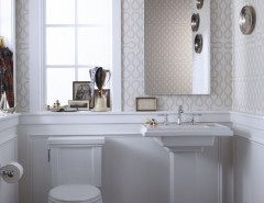 Toliet for a Traditional Bathroom with a Wallpaper and Eclectic Bathroom by kohler.com