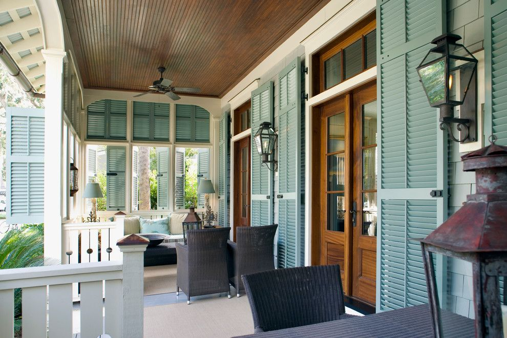 Tommy Bahama Newport Beach for a Beach Style Porch with a Stained Wood Ceiling and 27 Aiken Street by Our Town Plans