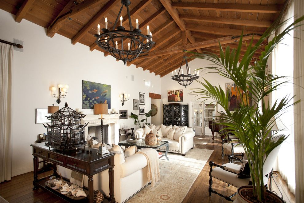 Tommy Bahama Newport Beach for a Mediterranean Living Room with a Fireplace and Beverly Hills Custom Home by C & C Partners Design/Build Firm