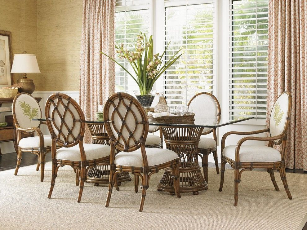 Tommy Bahama Newport Beach for a Tropical Dining Room with a Armchairs and Tommy Bahama Home Bali Hai Tropical Double Pedestal 7 Piece Dining Set by Baer's Furniture
