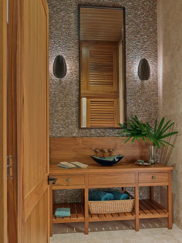 Tommy Bahama Newport Beach for a Tropical Powder Room with a Teak Vanity and Private Residence   Ocean Reef   Key Largo, Fl by Ruffino Cabinetry
