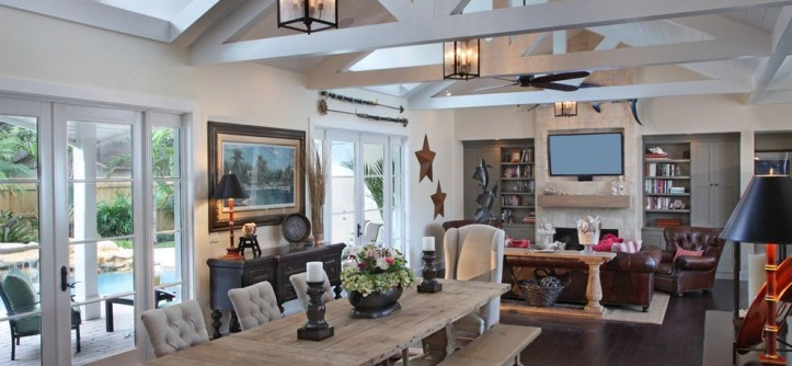 Tommy Bahamas Palm Desert for a Rustic Family Room with a Dining Bench and New Florida by RJS Builders