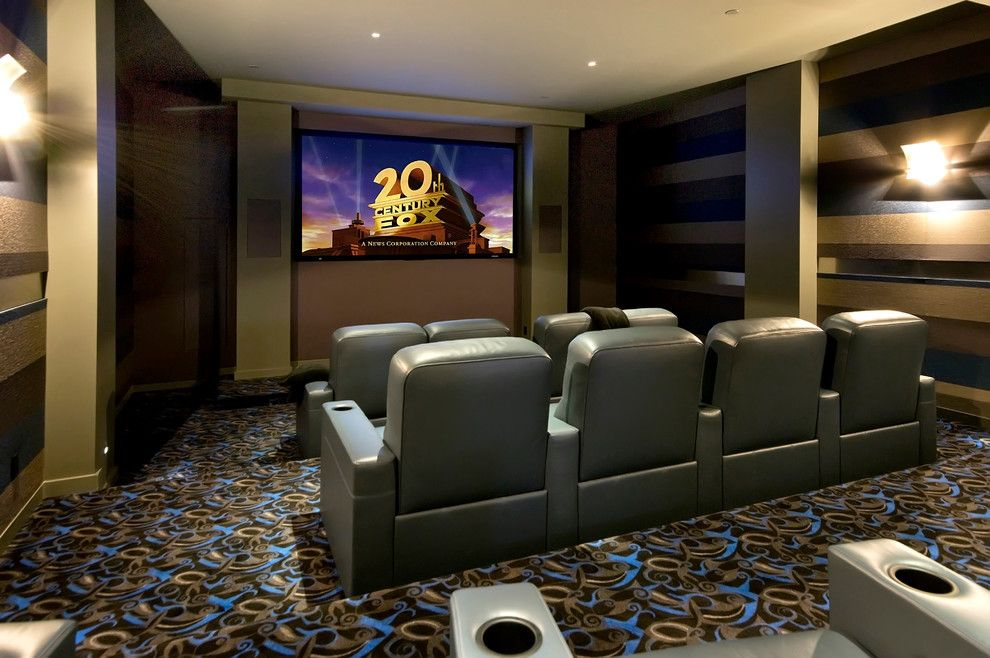Tony Brown Chevrolet for a Contemporary Home Theater with a Sconces and Fremont by Custom Dreams Construction Group