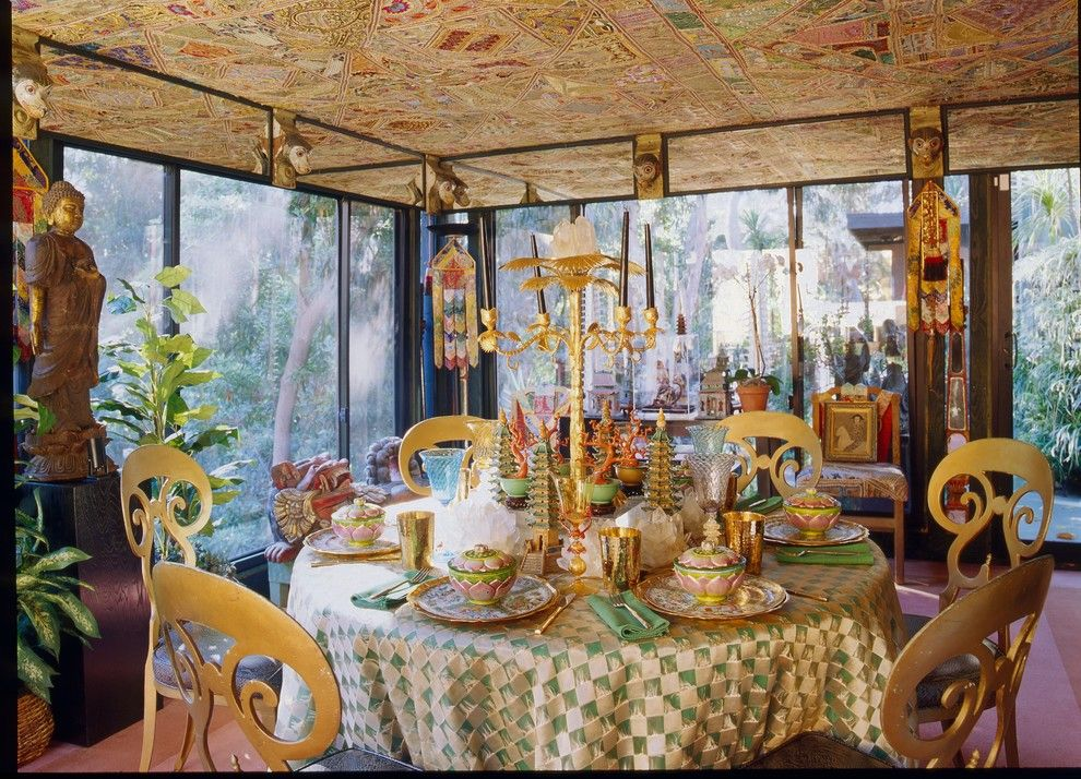 Tony Duquette for a Eclectic Dining Room with a Maximalist and Dawnridge by Hutton Wilkinson   Tony Duquette Inc.