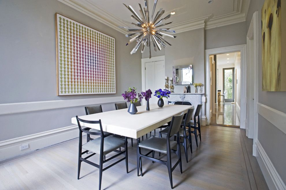 Tony Duquette for a Modern Dining Room with a White Wood Floor and Todd Davis Architecture by Todd Davis Architecture