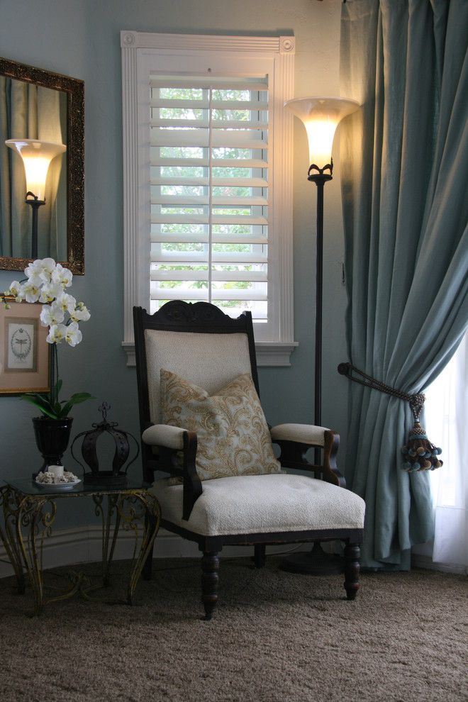 Torchere for a Transitional Bedroom with a Cream Chair and Master Bedroom Sitting Area by DH Design and Company