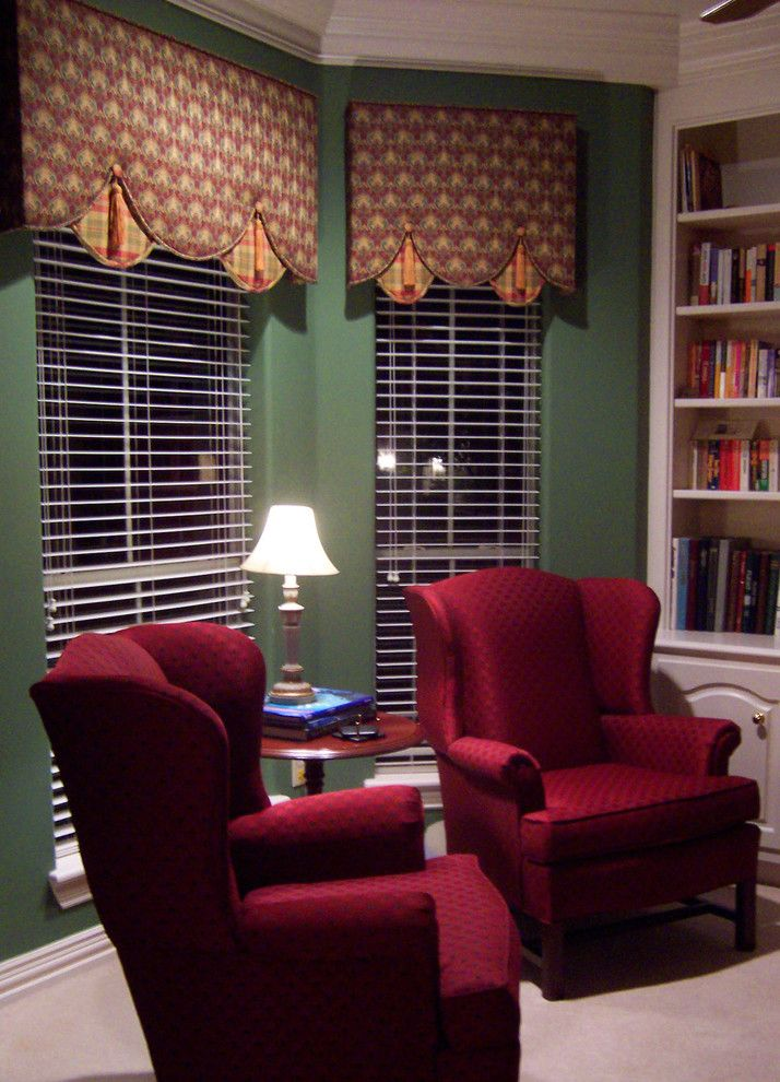 Torchere for a Transitional Home Office with a Drapery and Cottage Lane by David Pope