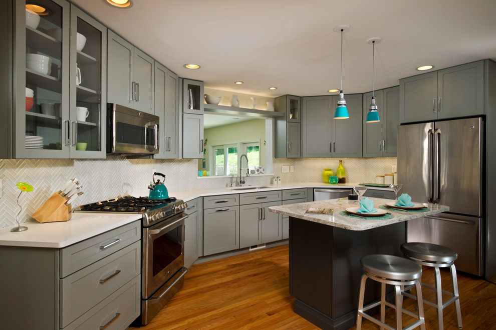 Torrey Hills Apartments for a Eclectic Kitchen with a Stamped Concrete and Angled Gray Kitchen by Kitchen and Bath World, Inc
