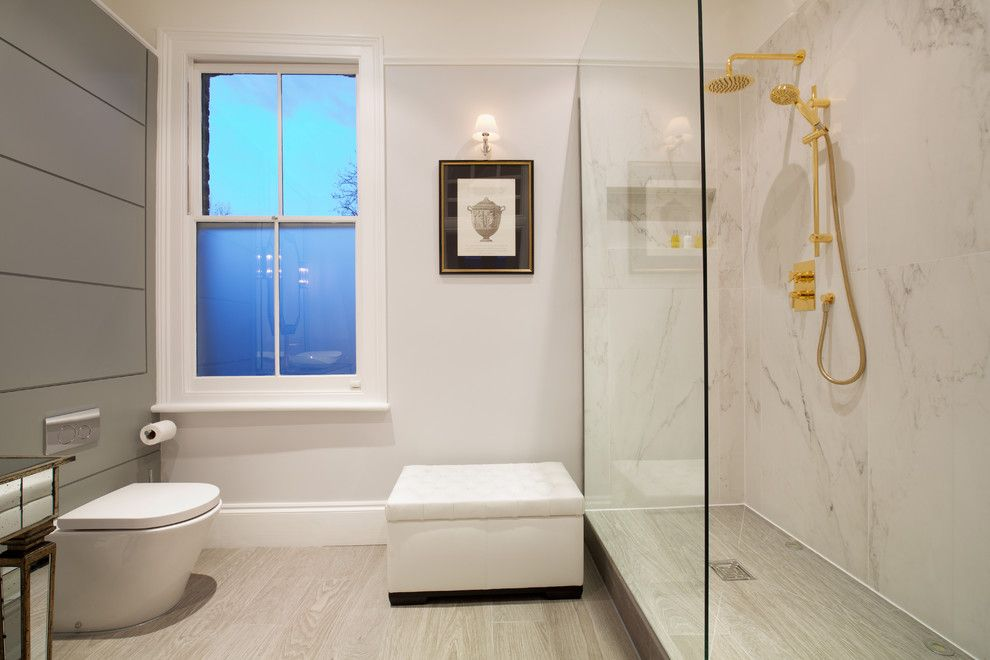 Towne Storage for a Transitional Bathroom with a Bathroom Stool and Tulse Hill Town House by Anita Bourne T/a Definitiveinteriordesign.com