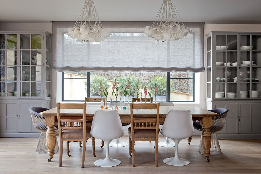 Towne Storage for a Transitional Dining Room with a Centerpiece and HPR, Wimbledon, London - Town House by CC Construction Ltd