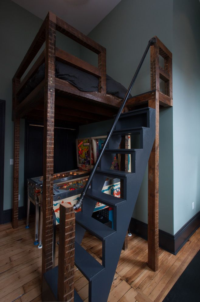 Tractor Pull Games for a Contemporary Bedroom with a Dark Wood Baseboard and Brian Mendelssohn by Jason Snyder