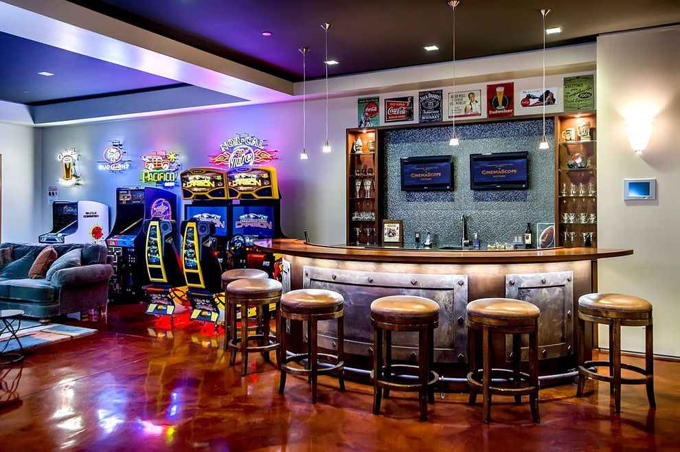 Tractor Pull Games for a Modern Basement with a Modern and California Home by Mark Pinkerton  - Vi360 Photography