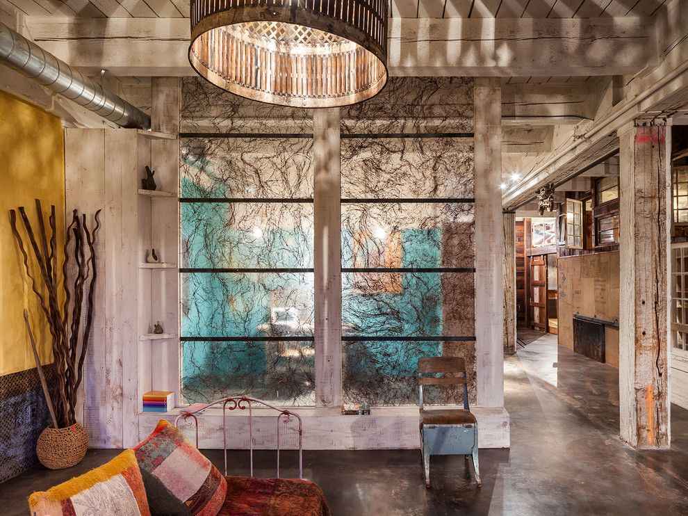 Translucent Concrete for a Industrial Living Room with a Reclaimed Wood and Layers by Kuda Photography