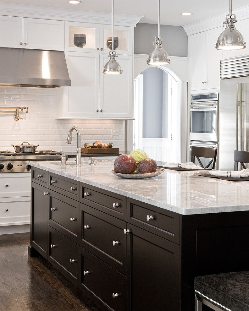 Translucent Concrete for a Traditional Kitchen with a Pendant Lighting and Needham Kitchen by Venegas and Company