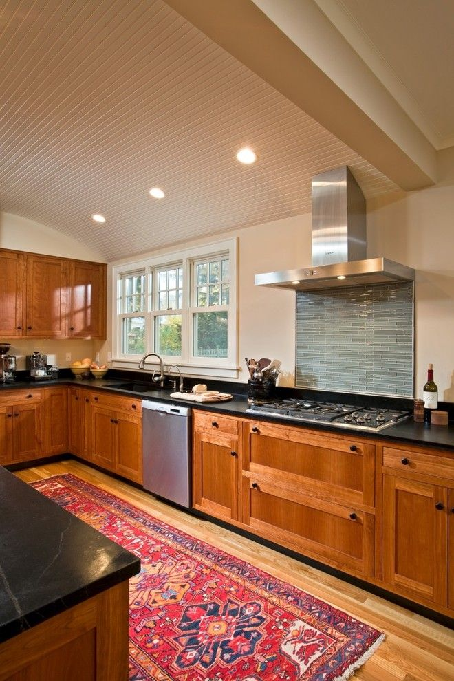Treehouse Builders for a Eclectic Kitchen with a Stainless Hood and Charming Revival by Teakwood Builders, Inc.