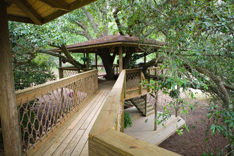Treehouse Builders for a Traditional Patio with a Climbing Plants and Tree Houses and Play Sets by Backyard Builders
