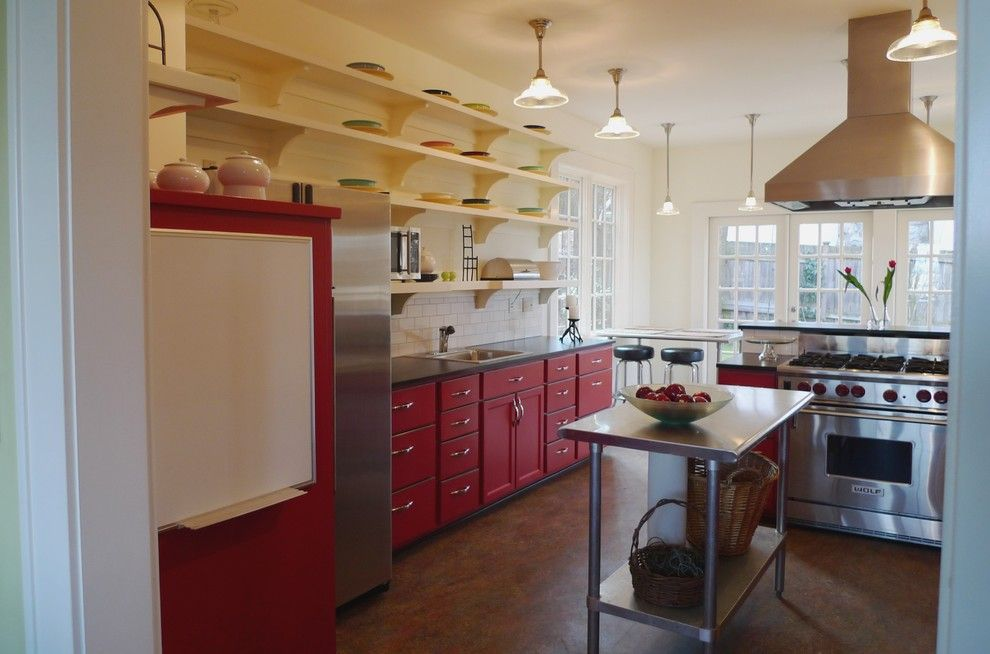 Trespa for a Eclectic Kitchen with a Black Counter and Schoolhouse Kitchen by Live Work Play