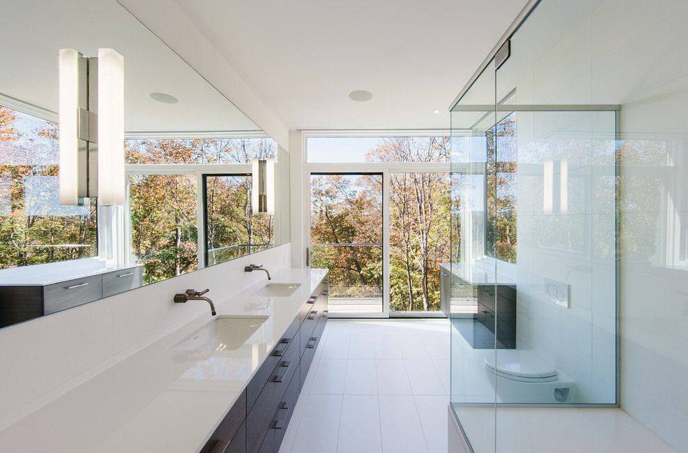 Trex Select for a Modern Bathroom with a Architects Challenge and GATINEAU HILLS by Marvin Windows and Doors