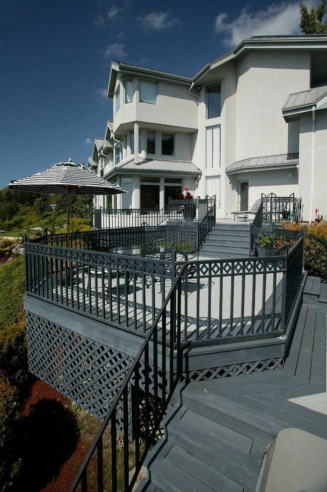 Trex Select for a Traditional Deck with a Black Deck and Seattle - Overlooking Puget Sound by Neu Construction, Inc