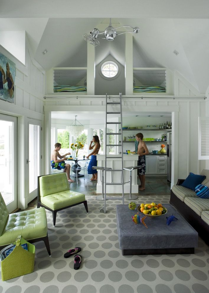 Tri Green Tractor for a Beach Style Living Room with a Ghost Chairs and Profile by Siemasko + Verbridge