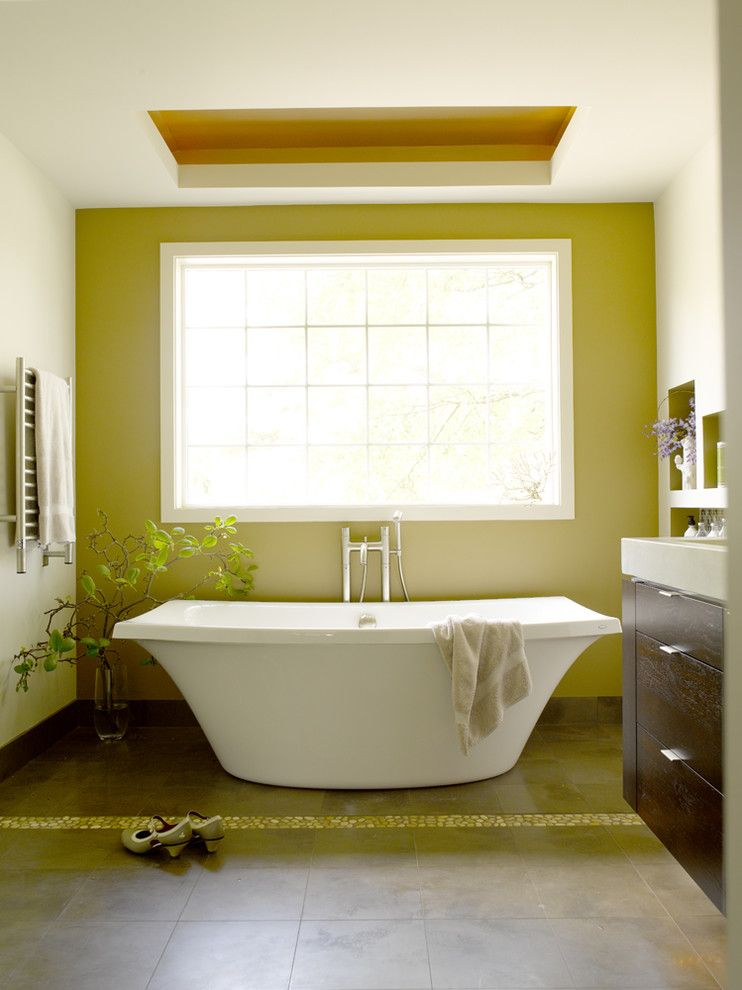 Tri Green Tractor for a Contemporary Bathroom with a Floral Arrangement and Master Bathroom Retreat by Jennifer Gardner Design