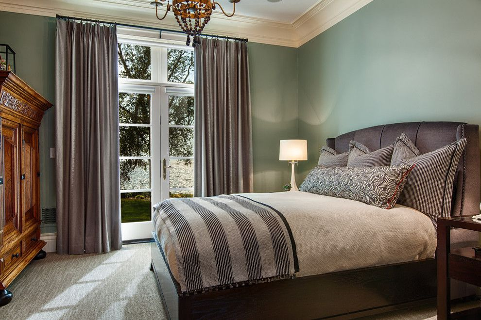 Tri Green Tractor for a Traditional Bedroom with a Striped Blanket and the Webster House by Mitch Wise Design,Inc.