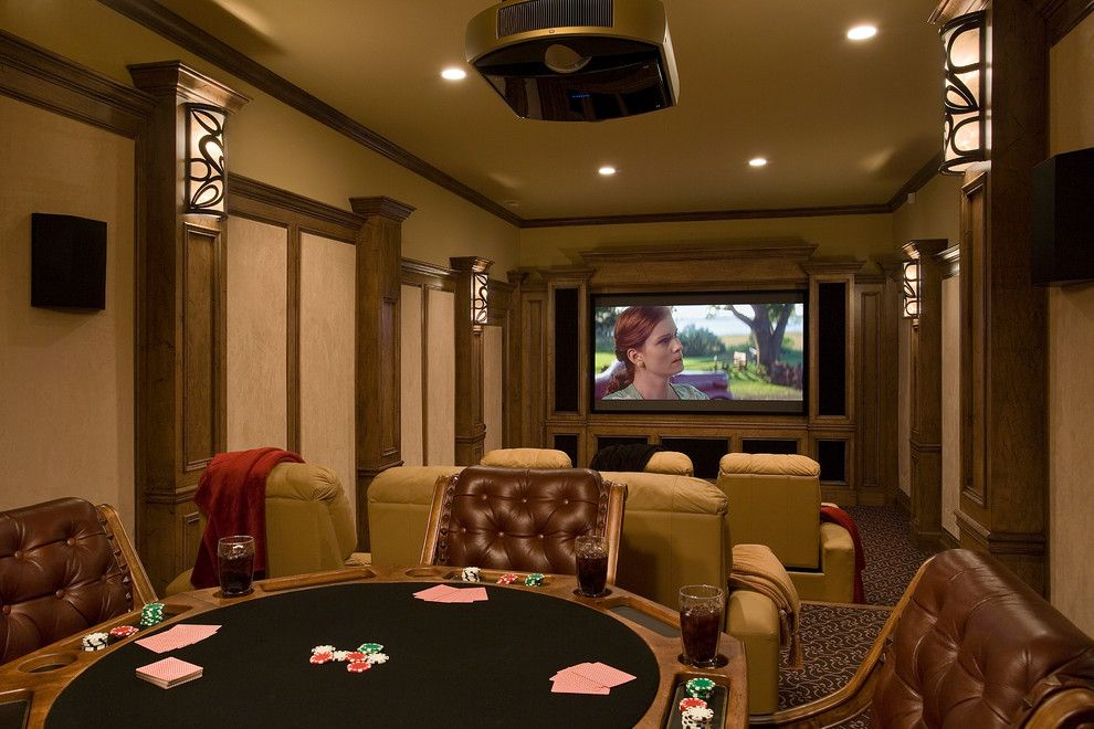 Trimountain for a Rustic Home Theater with a Game Tables and Whiteside Lodge by Mosscreek