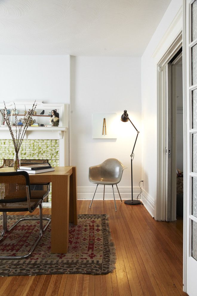Triton Rental Homes for a Scandinavian Dining Room with a Plastic Chair and Parkway by Jenn Hannotte / Hannotte Interiors