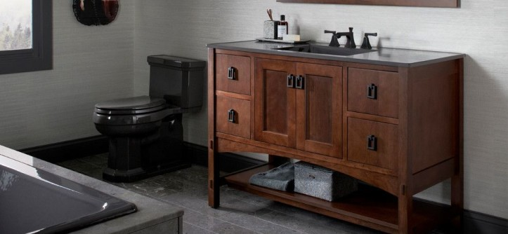 Turners Furniture for a Contemporary Bathroom with a Beige Walls and Kohler Bathroom Vanities by Capitol District Supply