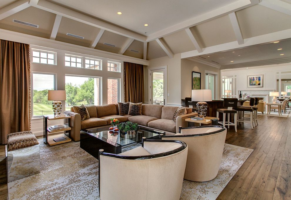 Turners Furniture for a Transitional Family Room with a Hardwood Floor and Mueller Residence by Kga Studio Architects, Pc