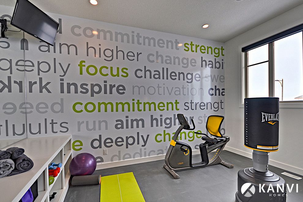 Twinspires for a Contemporary Home Gym with a White and Contemporary Home Gym by Kanvihomes.com