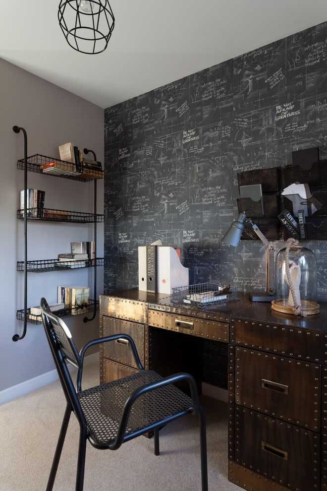 Twinspires for a Contemporary Home Office with a Chalkboard Wallpaper and North Kent Showhome by Ryan Wicks Photography Ltd