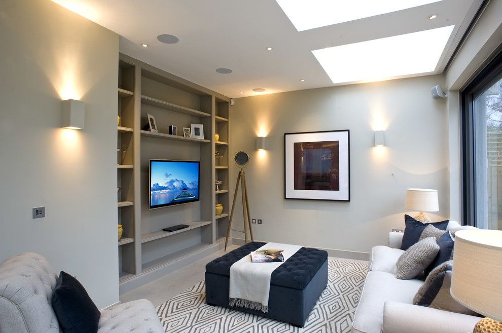 Twinspires for a Transitional Living Room with a Flatscreens and Roehampton Development by Inspired Dwellings