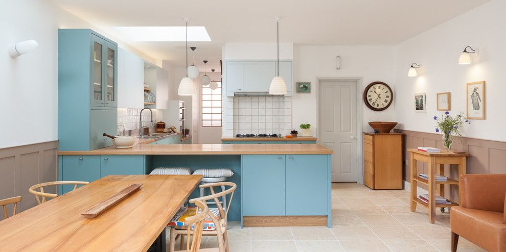 Ultratec for a Scandinavian Dining Room with a Blue Cabinets and Hackney Kitchen by Ryan Wicks Photography Ltd