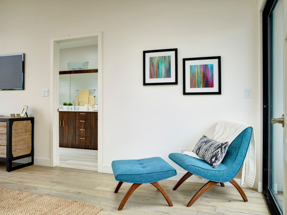 Unclaimed Furniture for a Contemporary Bedroom with a Aqua Side Chair and the Beacon by Colega Architects